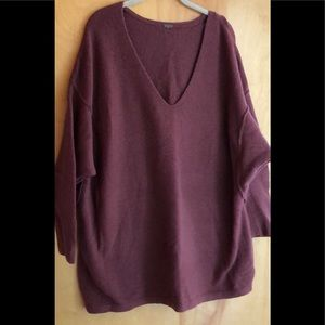 Free People oversized muted red brown sweater
